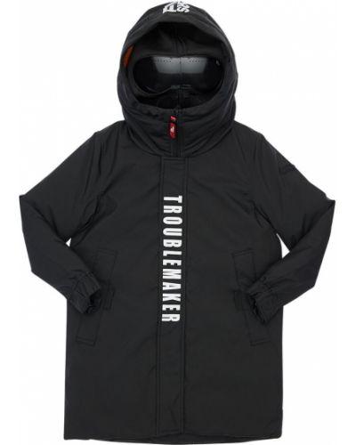 Nylon płaszcz prążkowany z łatami z mankietami Ai Riders On The Storm