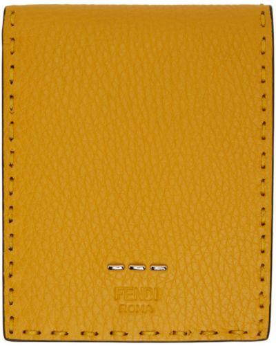 Черный кожаный кошелек для монет с карманами Fendi