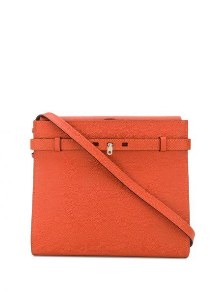 Кожаная оранжевая сумка через плечо с карманами Valextra