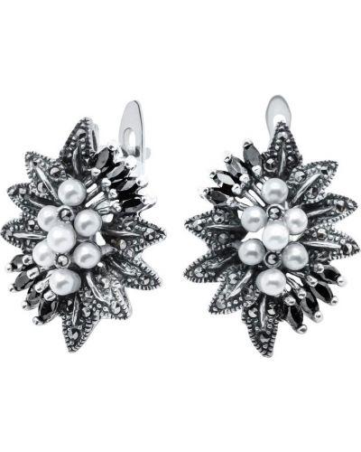 Серьги с жемчугом серебряные с камнями Silver Wings