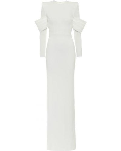 Платье макси атласное - белое Alex Perry