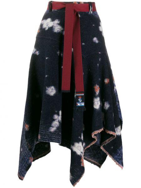 Niebieska spódnica z wysokim stanem wełniana High By Claire Campbell