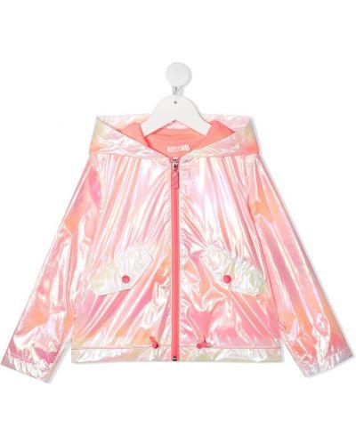Różowa długa kurtka z printem z długimi rękawami Billieblush