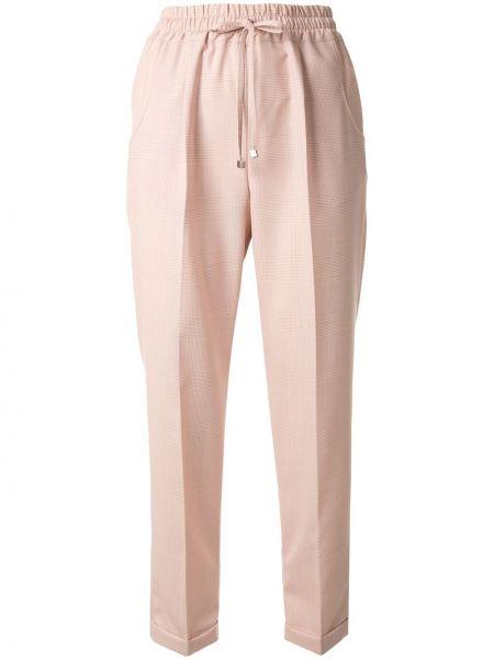Шерстяные розовые укороченные брюки с карманами Kiton