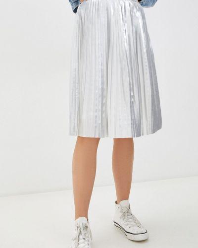 Серебряная плиссированная джинсовая юбка Calvin Klein Jeans