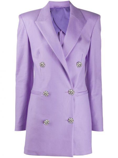 Fioletowa sukienka mini z długimi rękawami z wiskozy Attico
