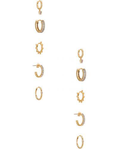 Kolczyki pierścionki metal pozłacany złoto z cyrkoniami Baublebar