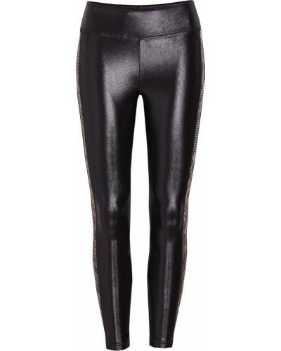 Черные леггинсы в полоску стрейч Koral Activewear