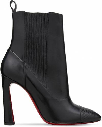 Czarny skórzany buty obcasy z wkładkami z ostrym nosem Christian Louboutin