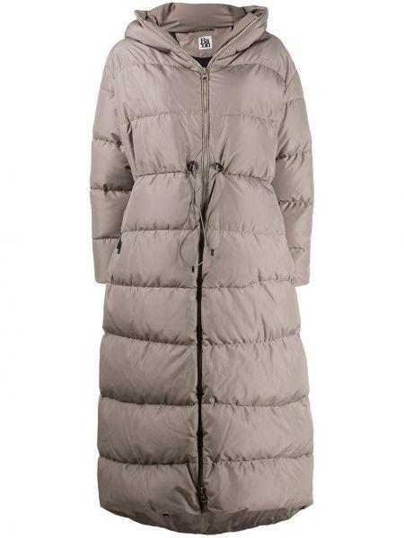 Пальто с капюшоном на молнии айвори с карманами с перьями Bacon