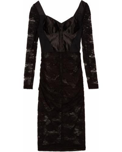 Платье миди с цветочным принтом с длинными рукавами приталенное Dolce&gabbana
