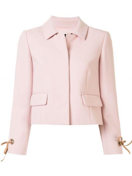 Шерстяной розовый короткая куртка с воротником Paule Ka
