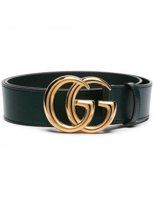 Zielony pasek skórzany z paskiem Gucci
