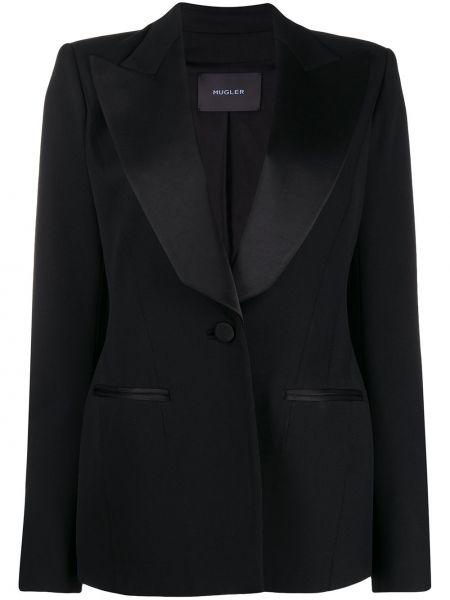Черный удлиненный пиджак с лацканами из вискозы на пуговицах Mugler