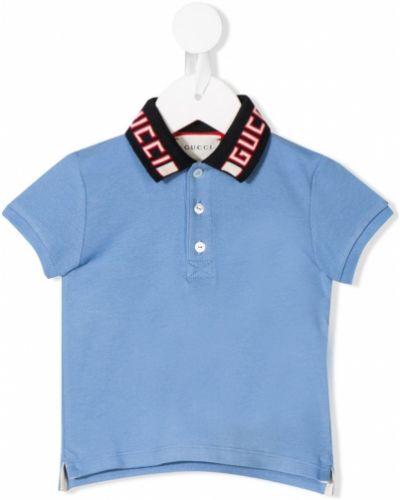 Синяя классическая рубашка с короткими рукавами с воротником Gucci Kids