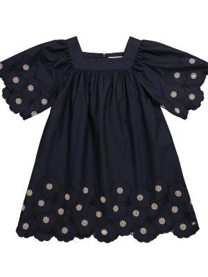 Ватное хлопковое синее платье Tartine Et Chocolat