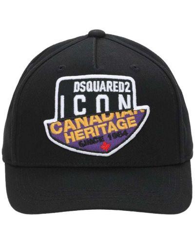 Bawełna czarny kapelusz z łatami Dsquared2