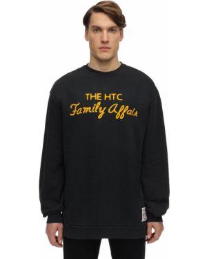Prążkowana czarna bluza z printem Htc Los Angeles