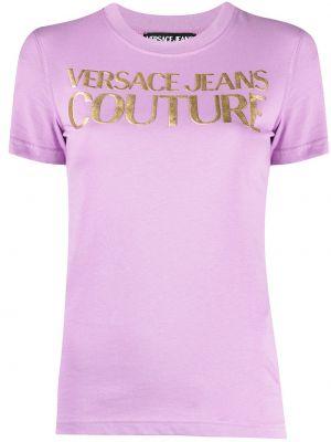 Фиолетовая прямая футболка с вырезом Versace Jeans Couture