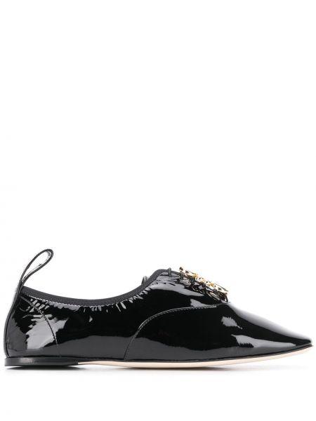 Черные кожаные дерби на каблуке с логотипом Loewe