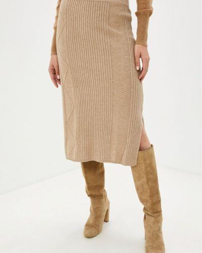 Бежевая прямая юбка карандаш Baon