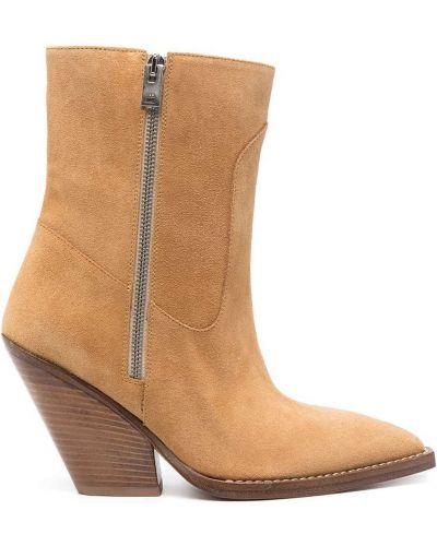 Brązowe ankle boots na platformie zamszowe Iro