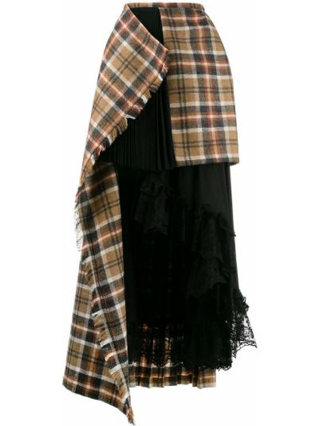 Шерстяная асимметричная с завышенной талией юбка макси со складками Preen By Thornton Bregazzi