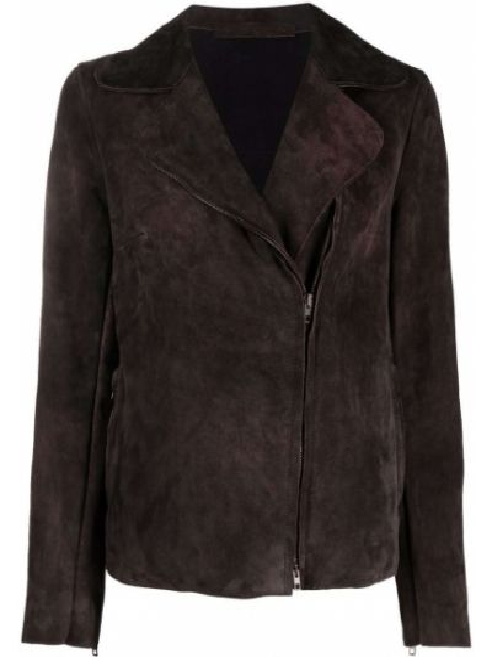 Кожаная куртка длинная - коричневая Salvatore Santoro