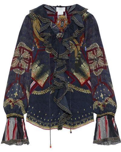 Кружевная синяя шелковая блузка Camilla