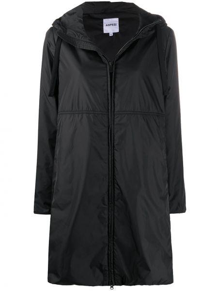 Черная длинное пальто с капюшоном на молнии Aspesi