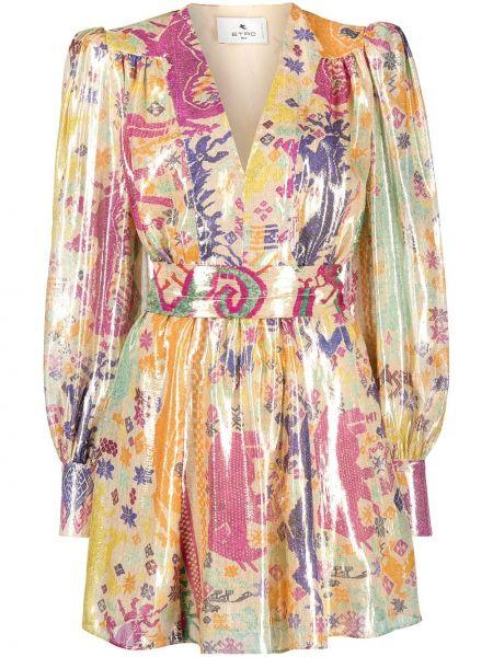 Шелковое платье мини золотое с вырезом Etro
