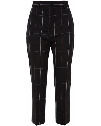 Шерстяные черные укороченные брюки с поясом Paul Smith