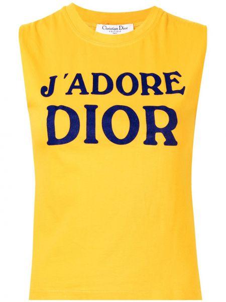 Żółty t-shirt bawełniany bez rękawów Christian Dior