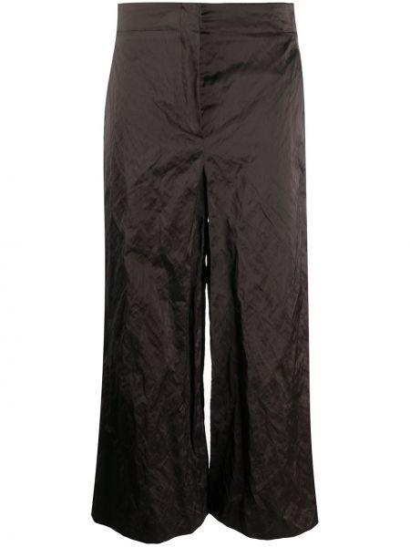 Хлопковые серые укороченные брюки свободного кроя с потайной застежкой Odeeh