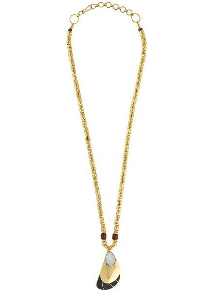 Złoty naszyjnik perły pozłacany Monica Sordo