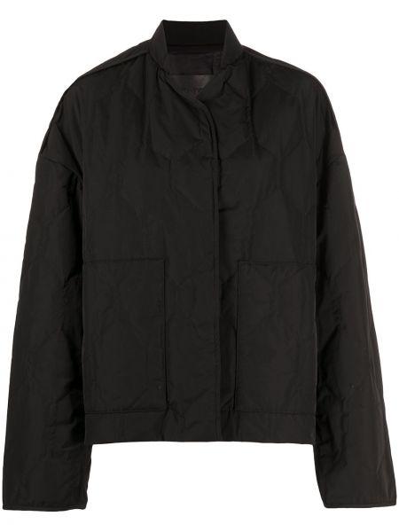 Хлопковая черная стеганая длинная куртка Christian Wijnants