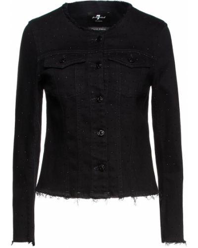 Черная хлопковая джинсовая куртка 7 For All Mankind