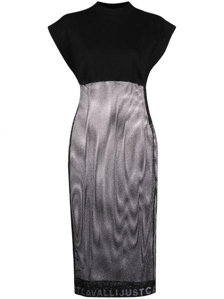 С рукавами черное платье миди с сеткой Just Cavalli