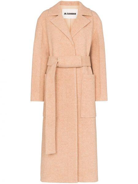 Длинное пальто розовое с запахом Jil Sander