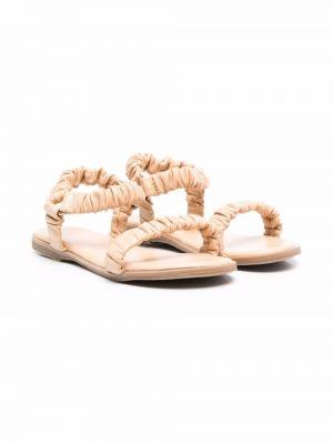 Beżowe sandały skorzane płaska podeszwa Age Of Innocence
