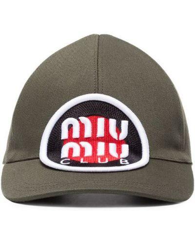 Хлопковая кепка с логотипом Miu Miu