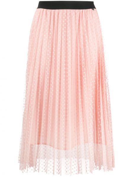 Плиссированная юбка с завышенной талией розовая Liu Jo