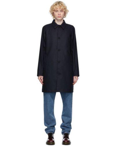 Wełniany czarny długo płaszcz z kołnierzem z kieszeniami Norse Projects