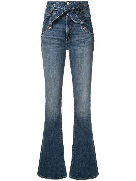 Хлопковые расклешенные синие джинсы на молнии Veronica Beard