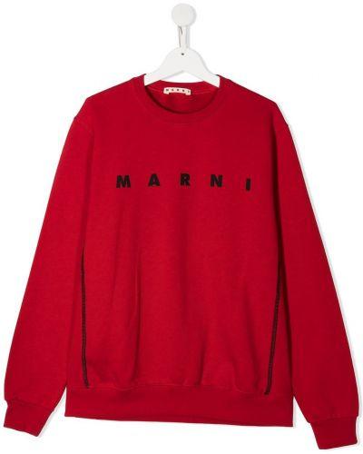Красная флисовая толстовка с вырезом в рубчик Marni Kids