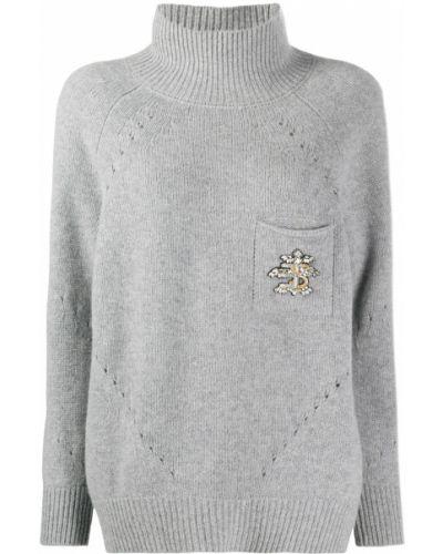 Серый шелковый джемпер с карманами в рубчик Ermanno Scervino