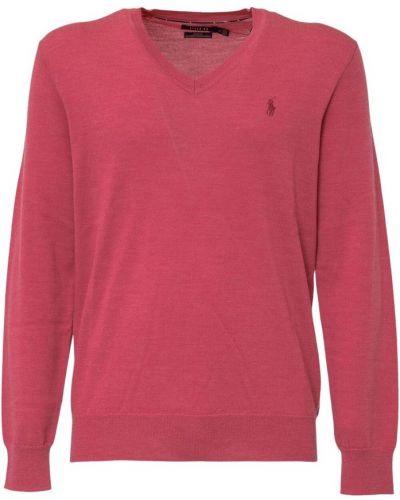 Różowy sweter z dekoltem w serek Polo Ralph Lauren