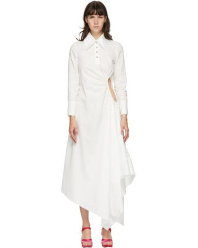 Asymetryczny biały bawełna długo sukienka z kołnierzem Marques Almeida