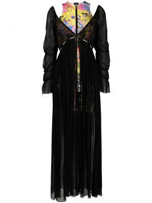С рукавами шелковое черное платье макси Just Cavalli