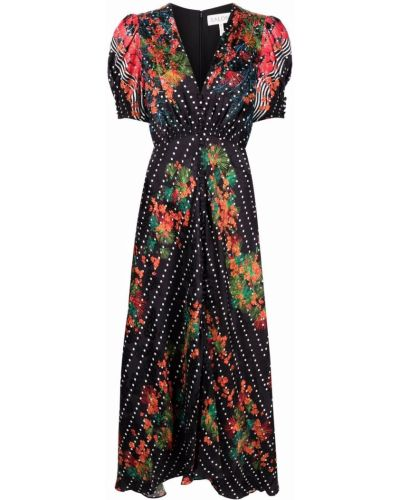 Czarna sukienka mini rozkloszowana w grochy Saloni
